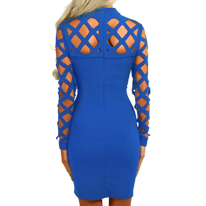 Explosion Bandage Robe 2018 Nouvelles Femmes À Manches Longues Creux Out Robe Nightclub Robe Sexy Robes Plus Taille GV504