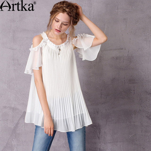 54b07b70c0 ARTKA Women s 2018 Summer New 2 Colors Pleated Chiffon Shirt Fashion  Ruffled Collar Off-shoulder