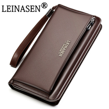 LEINASEN 2017 Genuine Leather Men bag Business Style Zipper & Hasp Designer Wallet Purses For men Clutch Bag Man wallets Handbag
