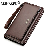 LEINASEN 2017 Genuine Leather Men S Bag Business Style Zipper Hasp Desinger Wallet Purses Clutch Bag