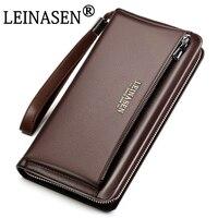 LEINASEN 2017 Genuine Leather Men S Bag Business Style Zipper Hasp Desinger Wallet Purses Clutch Bag