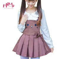Japanese Teens Girl Cute Dress Fasten Lovely Coffee Summer Dress Shoulder straps Embryonic Cartoon Bear Pleated Suspender Dress