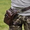 2017 Men Oil Wax Genuine Leather Travel Motorcycle Riding CrossBody Messenger Shoulder Fanny Pack Waist Thigh Drop Leg Bag
