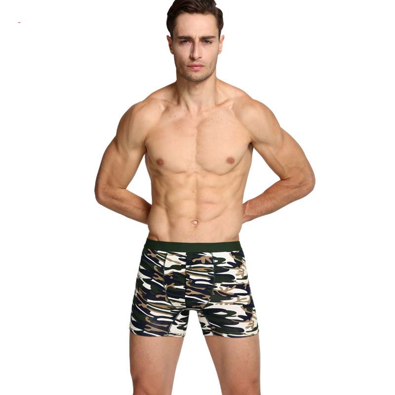 Men's underwear Extra long Men's boxers Men's shorts cotton Camouflage underwear 6 pieces/lot