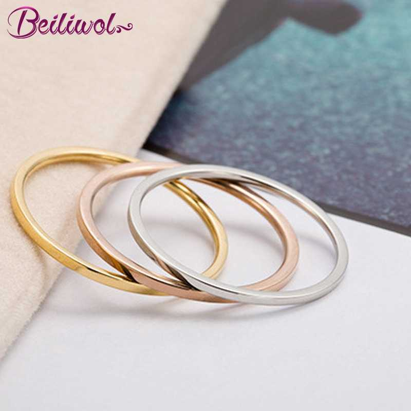 Rings for Women Titanium Steel Rose Gold Color Korean Jewelry Men Simple Wedding Couple Tail Width 1mm Stackable Thin Circle