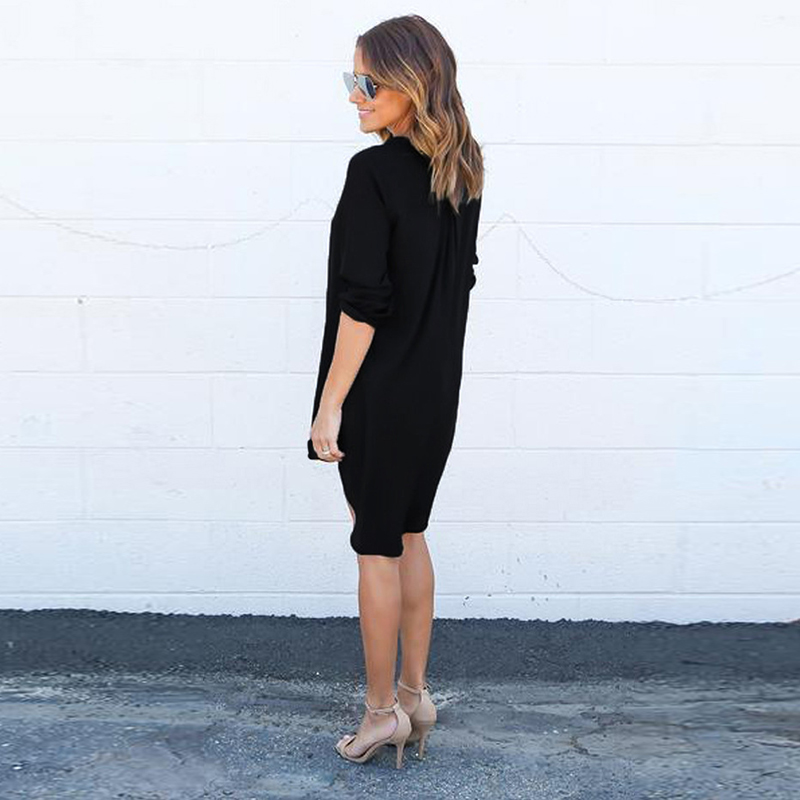 Short Summer Fashion Beach Dress - Long Sleeve Women Casual Dress 3