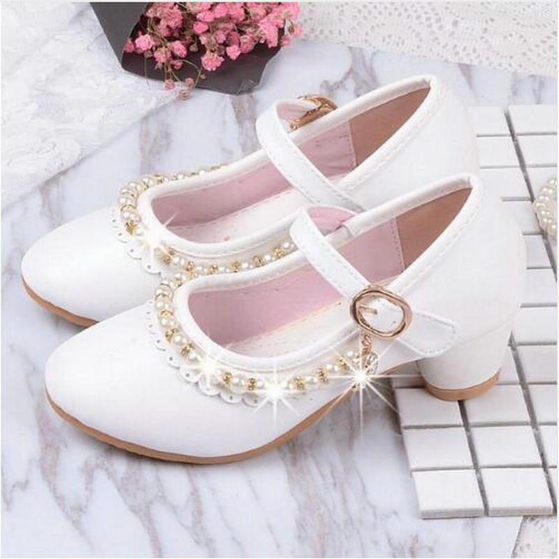 Children Elegant Princess Sandals Kids Girls Wedding PU Leather Shoes High Heels Dress Party Beaded Shoes For Girls Pink White new children princess pearl beading sandals kids flower wedding shoes high heels dress shoes party shoes for girls pink guinea p