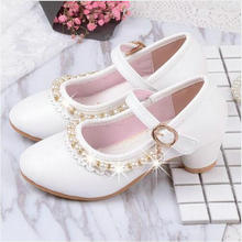 Children Elegant Princess Shoes Leather New Kids Girls Wedding Sandals High Heels Dress Party Beaded Shoes For Girls Pink White