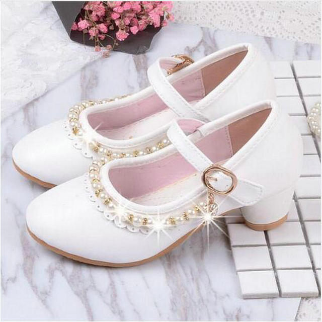 Children Elegant Princess Shoes Leather New Kids Girls Wedding Sandals High  Heels Dress Party Beaded Shoes For Girls Pink White a4f94da116e0