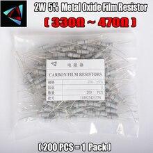 2W Watt 5% (200pcs/lot) Carbon Metal Oxide Film Resistor 330 360 390 430 470 Ohm