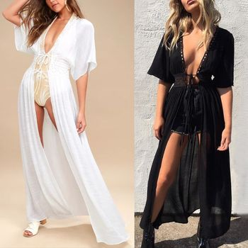Womens Summer Sheer Swimsuit Cover Up Hollow Crochet Floral Lace High Waist Belted Maxi Kimono Cardigan Solid Color Beach Dress