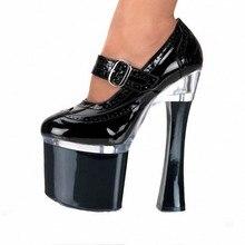 Sexy Round Toe Mary Janes Women Pump Lattice Shoes 18Cm Unique High Heels Platform Shoes Prom Heels Plus Size 35-46 SJ0019 цены онлайн