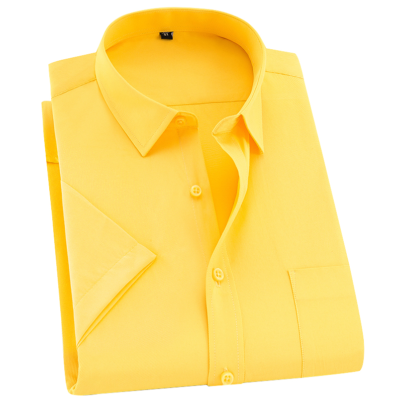 Plus Size 8XL Men Summer Shirts Short Sleeved Mens Business Shirts Big 7XL Easy Care Social Male Clothing Career 6XL Breathable