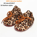 Fashion Spring/Autumn Brand Real Leather First Walkers Lace-up Leopard Print Baby Shoes Tassel Infant Suede Boots Baby Moccasins