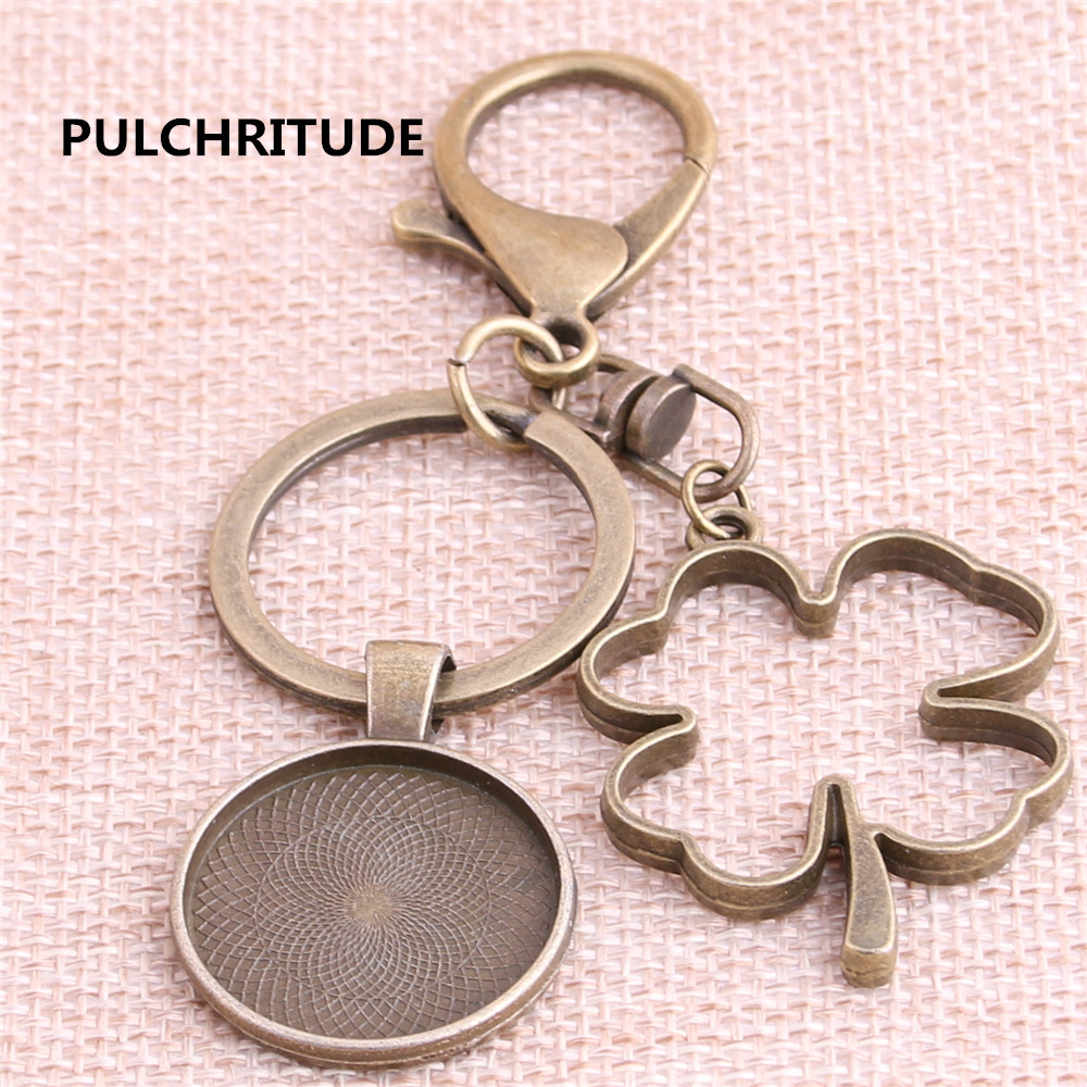 PULCHRITUDE 3pcs Round 25mm Antique Bronze Cameo Base Handmade Cameo Setting Metal Plant Leaf Tray Key Chain Accessor Y1026