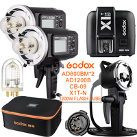 2 предмета Godox ad600bm 600 Вт 2.4 г gn87 1/8000 HSS открытый вспышка + x1t n + ad h1200b + cb 09 + 1200 Вт для Nikon