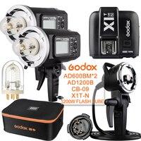 2 Pcs Godox AD600BM 600W 2.4G GN87 1/8000 HSS Outdoor Flash+X1T N+AD H1200B+CB 09+1200W Flash Tube For NIKON