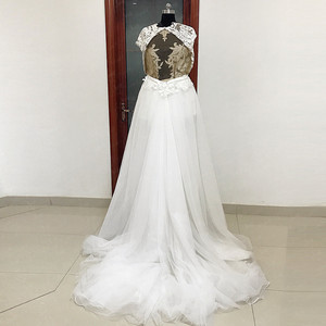 Image 3 - RSW557 Transparent Body Cap Sleeves Detachable Tulle Train Backless Wedding Dress