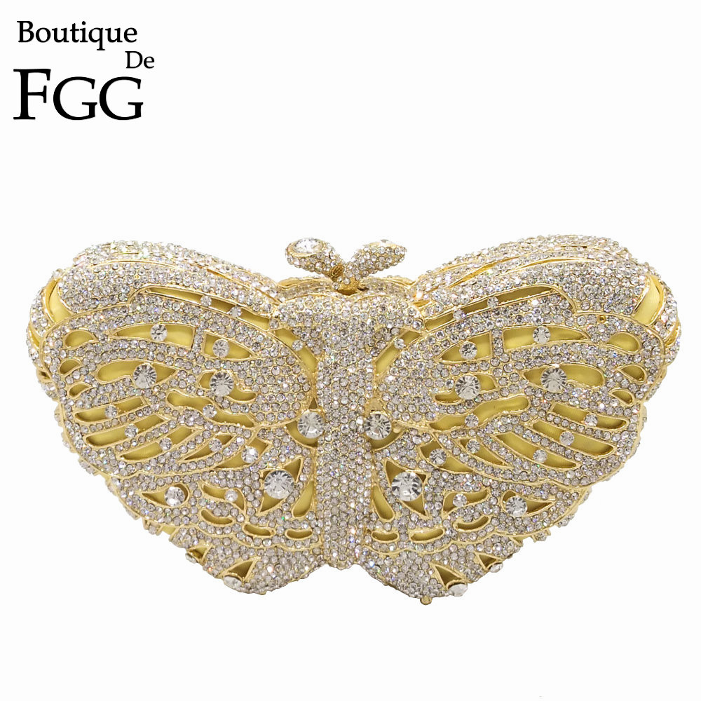 Boutique De FGG Hollow Out Gold Color Women's Fashion Butterfly Crystal Evening Bags Wedding Party Cocktail Handbags and Purses mens casual 3d personality skull printing short sleeve t shirt cotton sport black tees