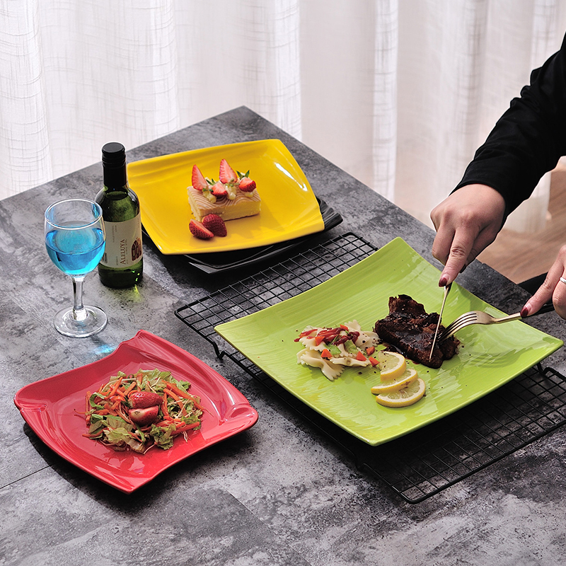 Western Food Beefsteak Dishes Square Plate Flat Ceramic