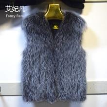 New Real Silver Fox Fur Vest Winter Warm Fashion Womens Fur Vest Genuine Fox Fur Coat Jacket Female Lady Fur Coat Factory Direct