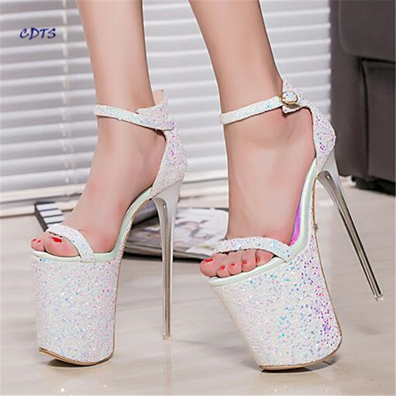 Zapatos Mujer Summer Pumps Nightclub Bling Sexy Platform Shoes Woman Buckle Sandals 20cm thin high heels sequins wedding pumps phyanic bling glitter high heels 2017 silver wedding shoes woman summer platform women sandals sexy casual pumps phy4901
