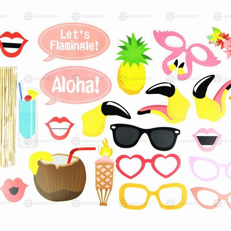 Printable hawaiian photo booth props beach luau hawaiian for How to make luau decorations at home