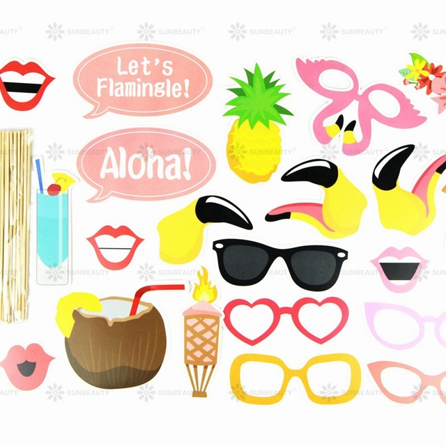 Printable Hawaiian Photo Booth Props Beach Luau Hawaiian