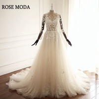 Rose Moda High Neck Long Sleeves Wedding Dress 2018 For Muslim Lace Wedding Dresses With Sleeves