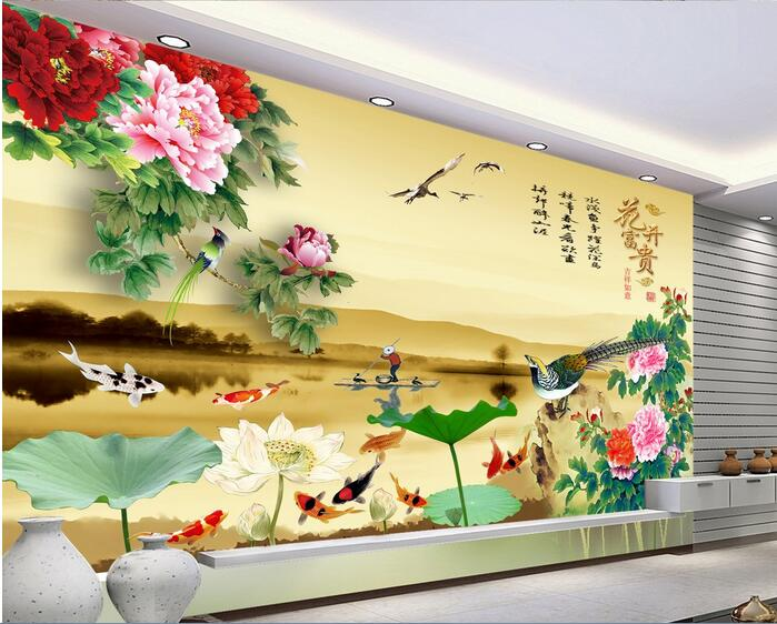 3d room wallpaper custom mural non-woven wall sticker Hd lotus flower peony nine fish painting photo wallpaper for walls 3d 3d wallpaper custom 3d flooring painting wallpaper murals nine fish 3d stereograph floor pebbles lotus leaf room photo wallpaper