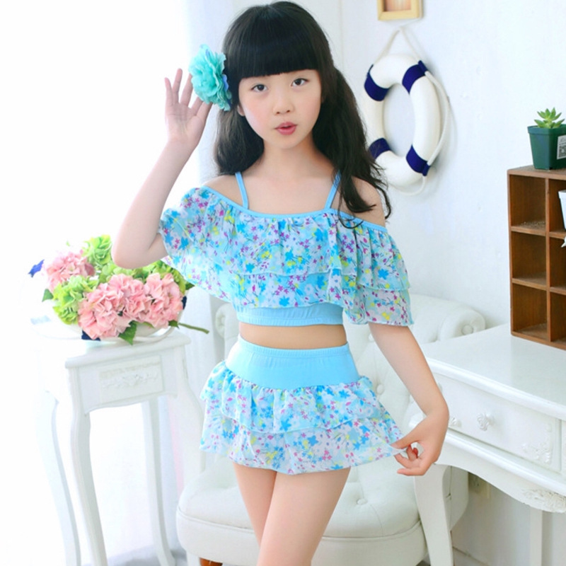 Girls Two Pieces Suits For Swimming Children Polyester Swimwear Kids Floral Bathing Suit Swim Wear Big Girl Swimsuits 3-15 Years(China)