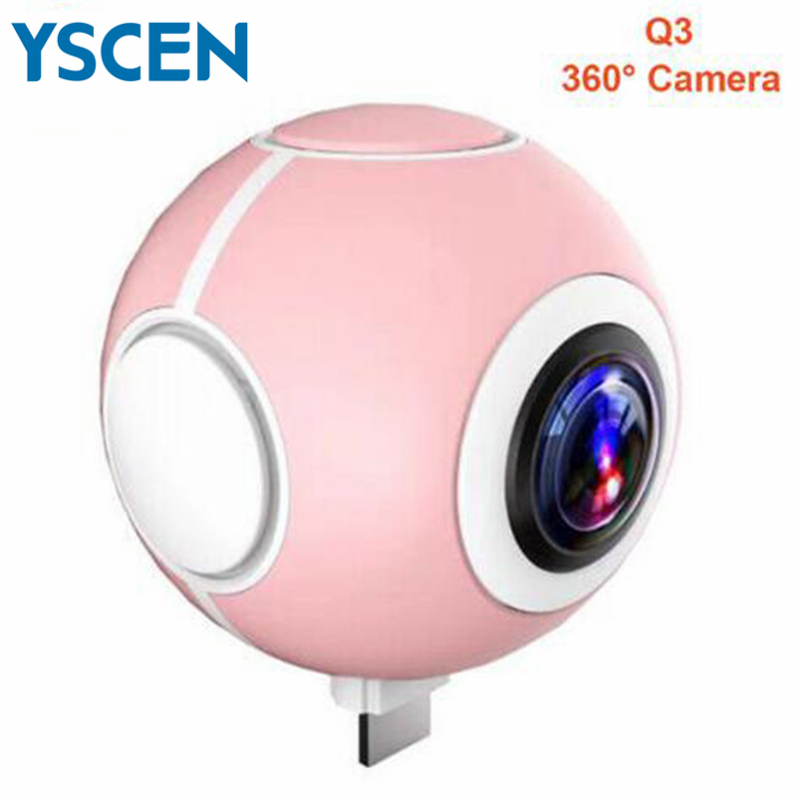 Mini Panoramic Camera 360 Degree HD Wide Dual Angle Fish Eye Lens VR Video Camera for  Smartphone support Surround Sound