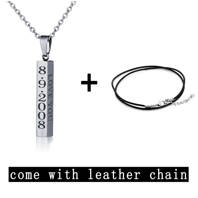 Engraved Name Necklace Personalised Gift Strip Pendant Stainless Steel Unisex Fashion Necklaces Pendants (JewelOra NE101301)