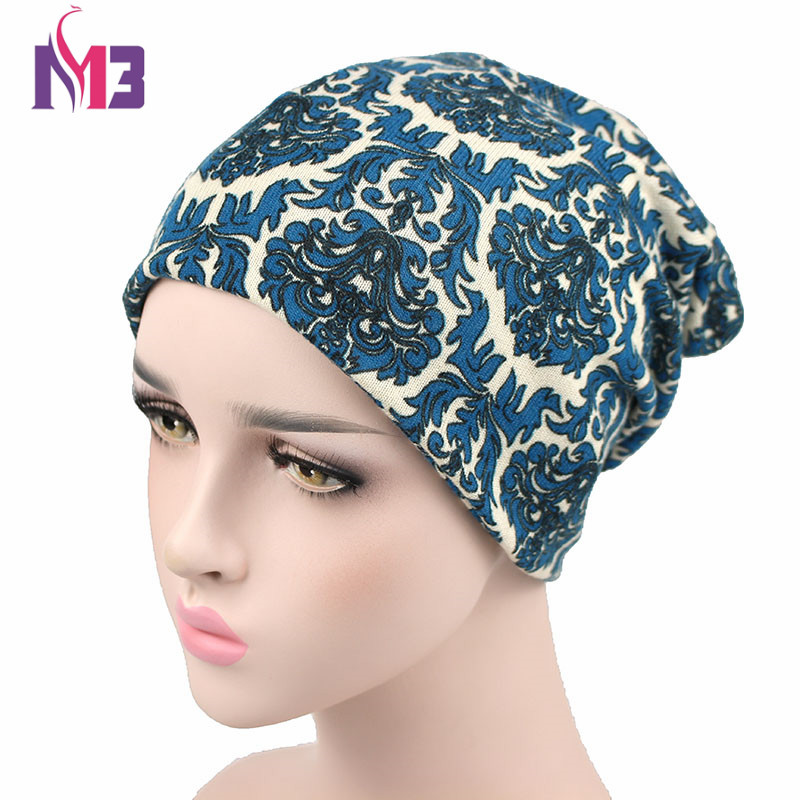 Winter Women Skullies Beanie Hat Knitted Polyester Skullies Two Used Neck Warmer Casual Women's Hat Printed Ski Gorros Cap skullies