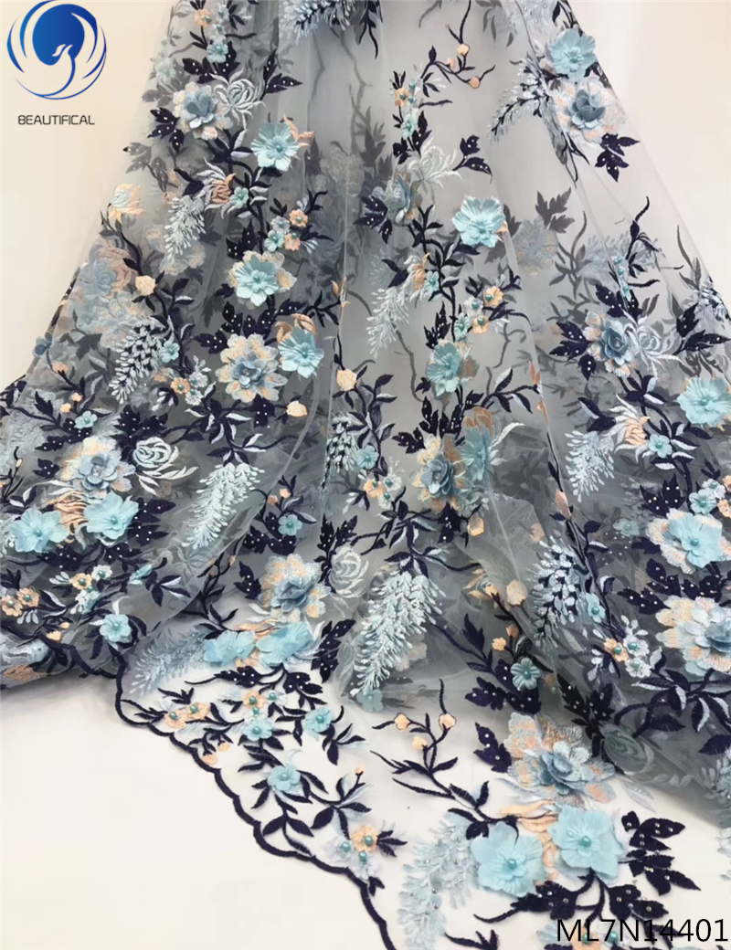 BEAUTIFICAL 3d handmade lace fabric 3d flower lace fabric lace bridal material 3d online 5 yards/lot with beads for sale ML7N144BEAUTIFICAL 3d handmade lace fabric 3d flower lace fabric lace bridal material 3d online 5 yards/lot with beads for sale ML7N144