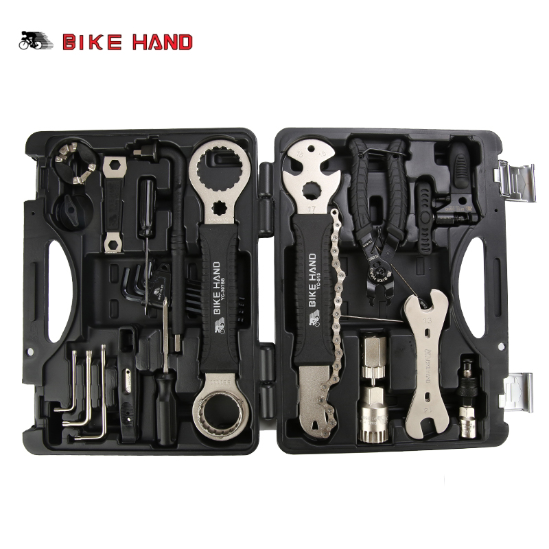 лучшая цена BIKE HAND 18 in 1 Bicycle Repair Tools Kit Box Set Multi MTB Tire Chain Repair Tools Spoke Wrench Kit Hex Screwdriver Bike Tools