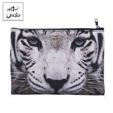 white tiger 3D Printing Pencil bags cosmetic bag Fashion cosmetiquera makeup bag trousse