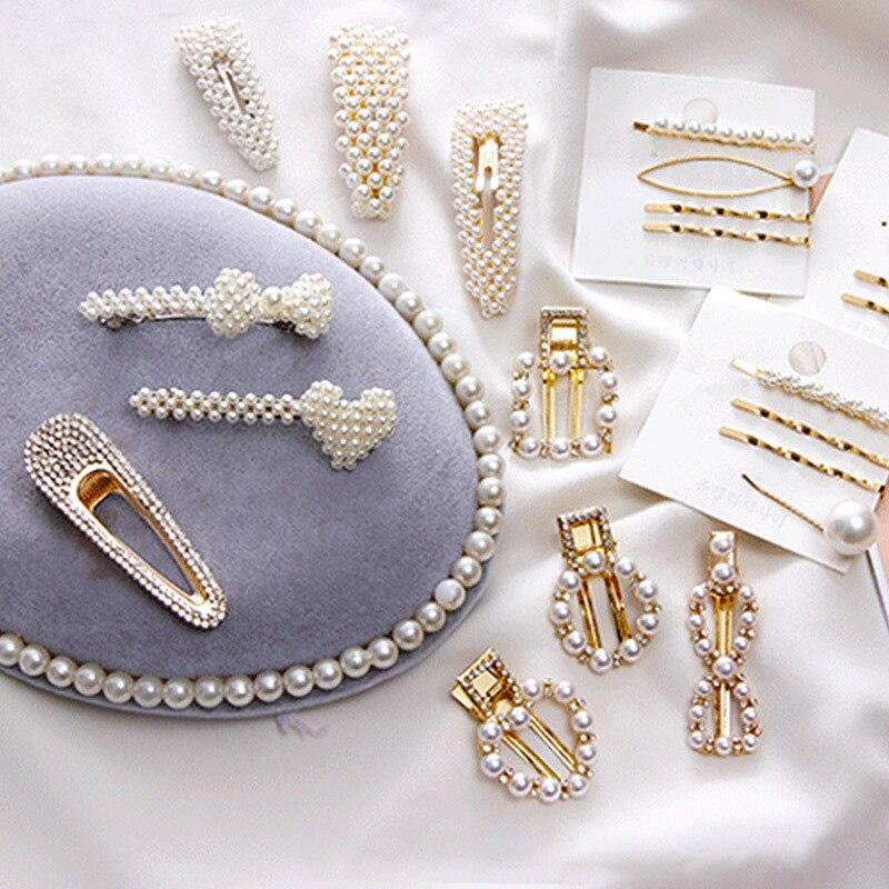 2019 New Fashion Pearl Cute Hairpins Barrettes Hair Clip For Women's Hair Accessories Girls Handmade Pearl Flowers   Headwear