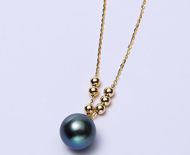 Superbe pendentif 10-11mm perle de tahiti ronde noir vert 18 k