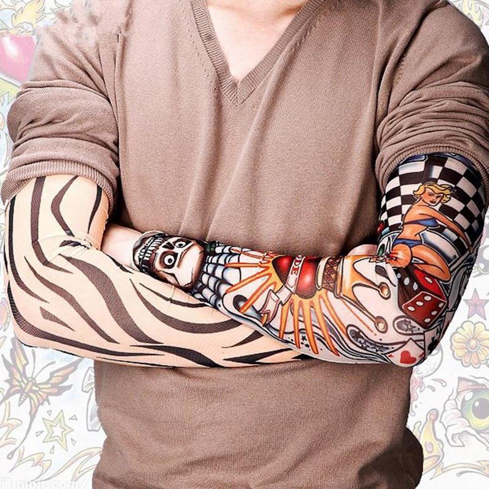 2019 New Cool Men Tattoo Sleeves UV Cool Arm Sleeves Cycling Running Arm Warmer Sport Elastic Fashion Oversleeve Arm Warmers