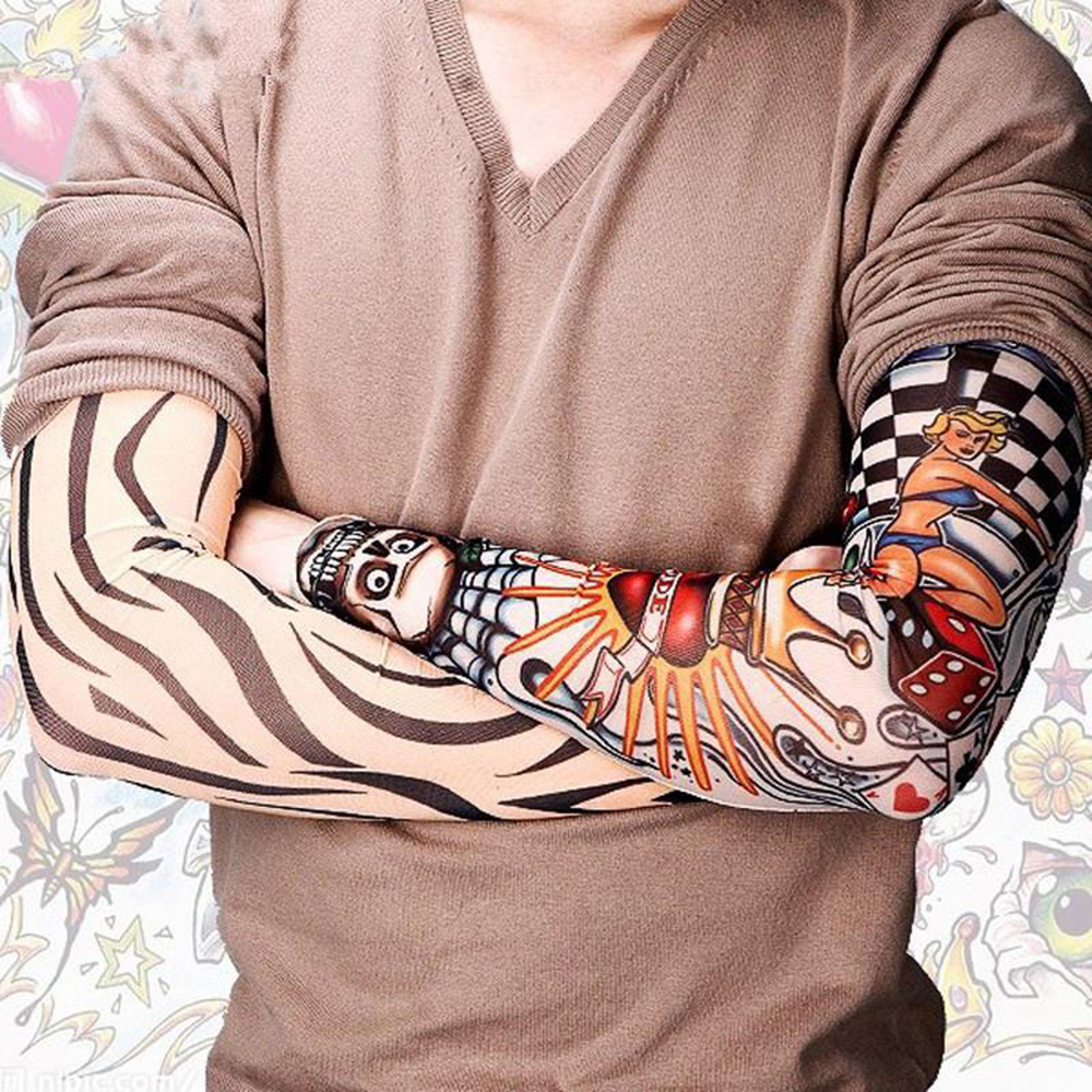 2019 New Cool Men Tattoo Sleeves UV Cool Arm Sleeves Cycling Running Arm Warmer Sport Elastic Fashion Oversleeve Arm Warmers