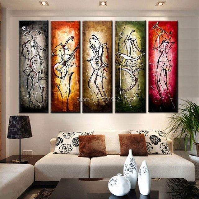 Die musiker! 5 panels Moderne Abstrakte Ölgemälde auf leinwand ...