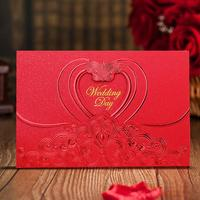 20pcs Pack Wedding Invitations Elegant Heart Shaped Pattern Invitation Cards With Envelopes Wedding Decoration