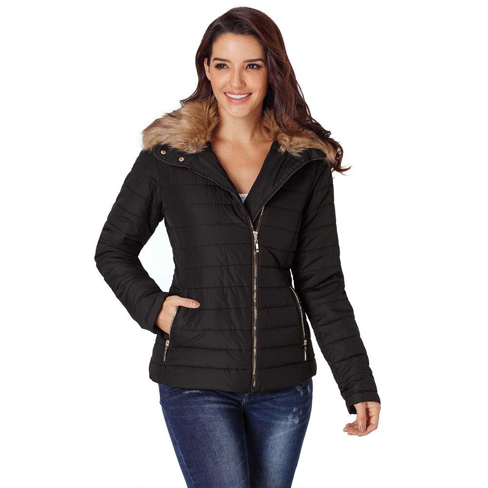 Casual Winter   Parka   Faux Fur Collar Black Jacket Long Sleeve Slim XL Women Cotton Coat Girl Woman Windbreaker Fashion Streetwear