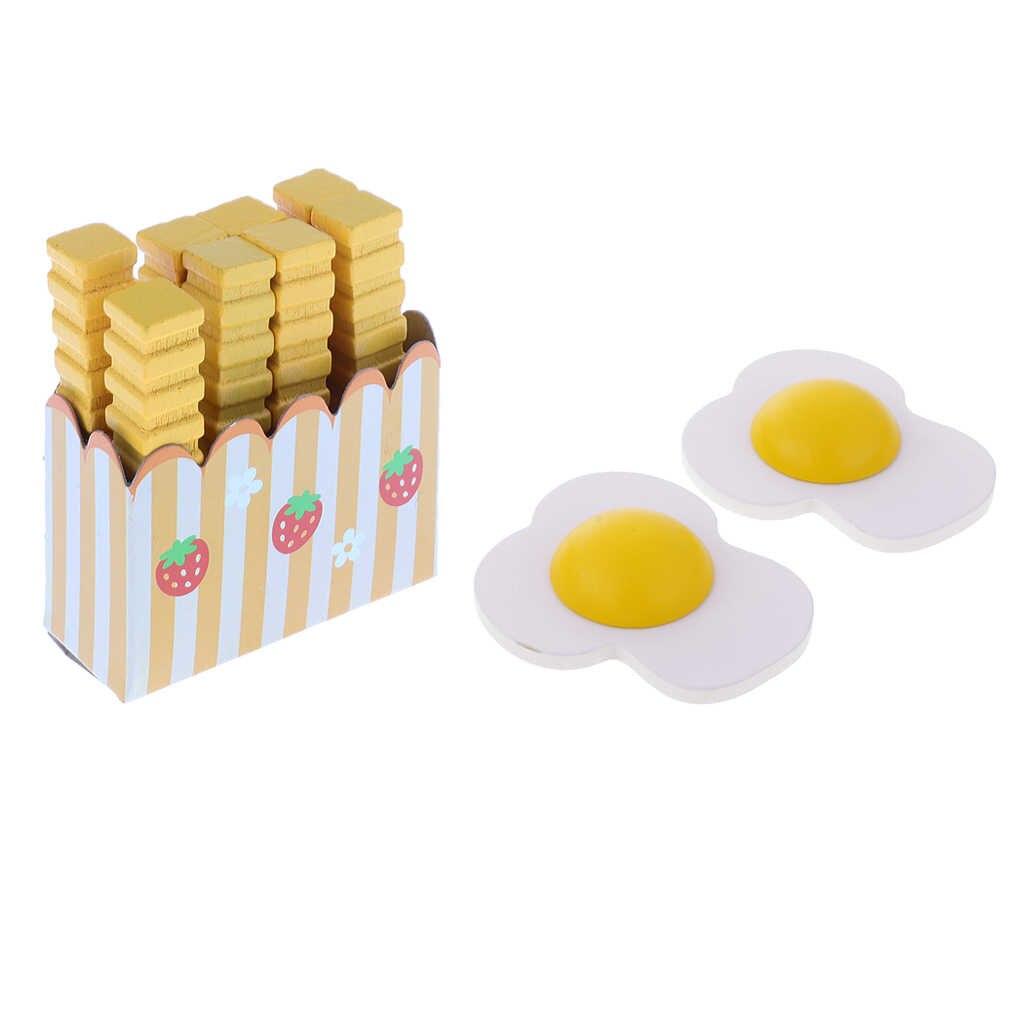 Ahsap Rol Oynamak Gida Manyetik Yumurta Cips Mutfak Asci Okul