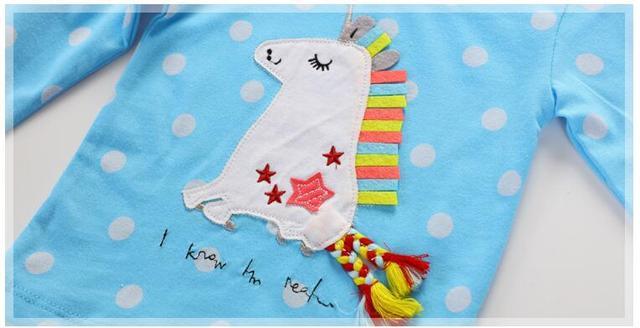 Little maven children brand baby girl clothes 2017 autumn new girls cotton long sleeve dot sky blue cloth unicorn t shirt 50899