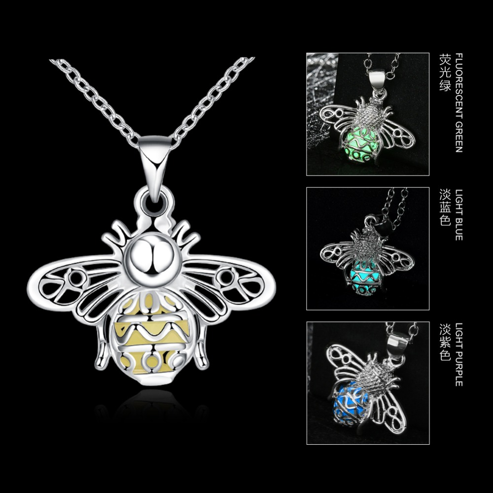 JEXXI Glowing Luminous Vintage Necklaces Special Gift Steampunk Pretty Magic Hollow Insects Glow In The Dark Pendant Necklace