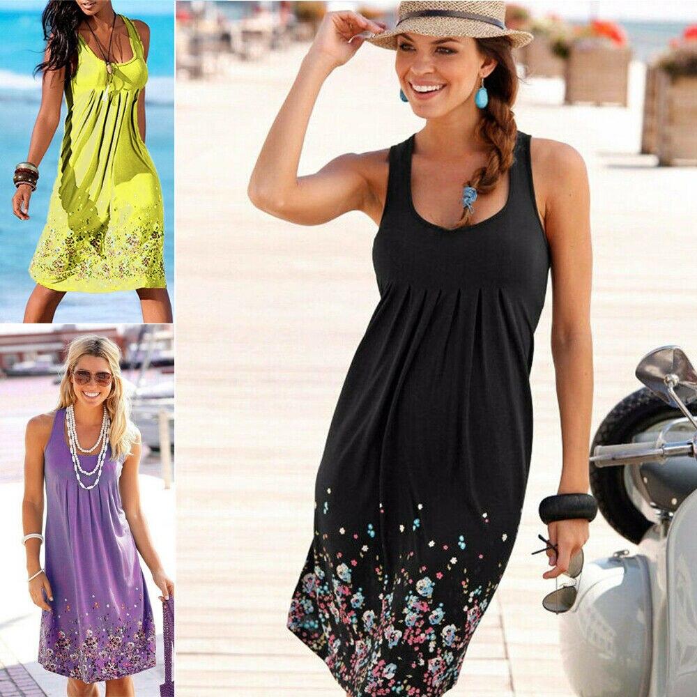 Womens Floral Sommerkleid Knie Länge Sommer Lose Ärmellose Kleider Blumen Druck Mode Strand Kleid Sommer Frauen Neue PLUS GRÖßE