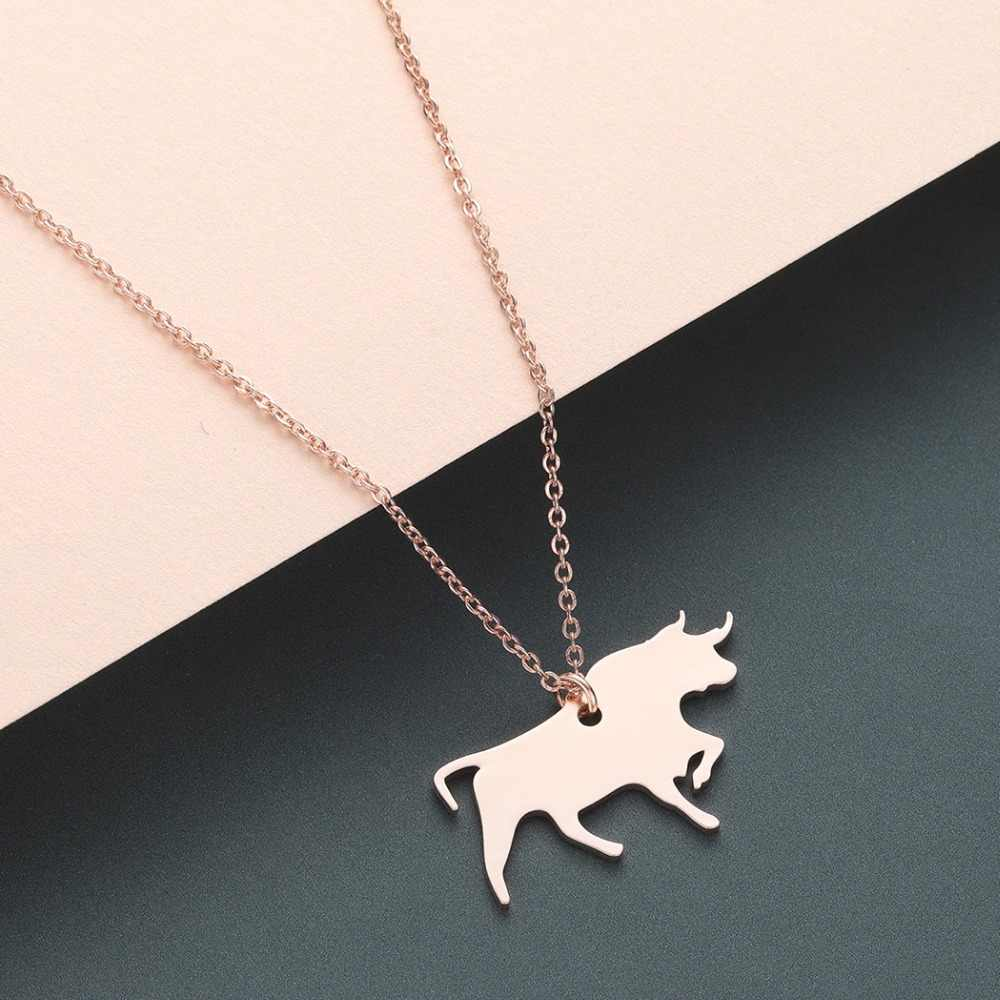 Chandler Cow Horse Bird Paw Elk Bat Leopard Necklace & Stainless Steel Animal Necklaces For Girls Jewelry Collares Largos Kolye