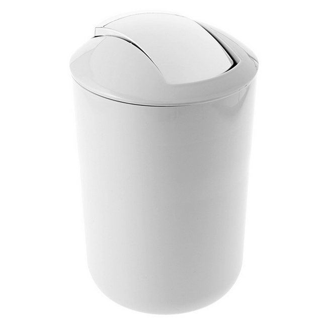 Mini Rocking Cover Trash Can Bathroom Kitchen Goods Plastic Simple Garbage  Bin With Lid Waste Bin
